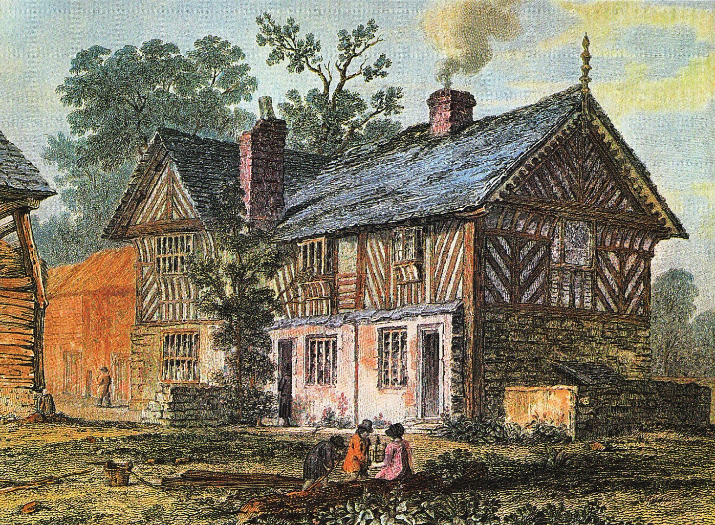 Postcard of old drawing of Bishops' House
