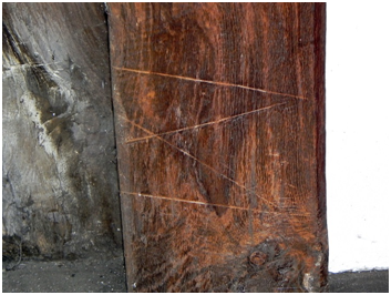 Fig 3 - Carpenter's levelling mark on one of the posts